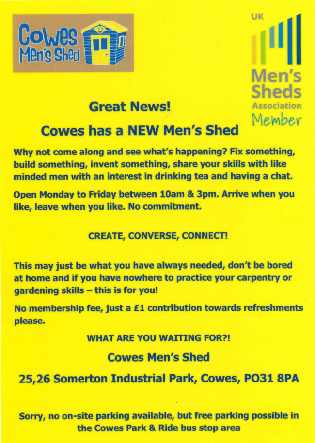 Cowes Men's Shed Notice 680x